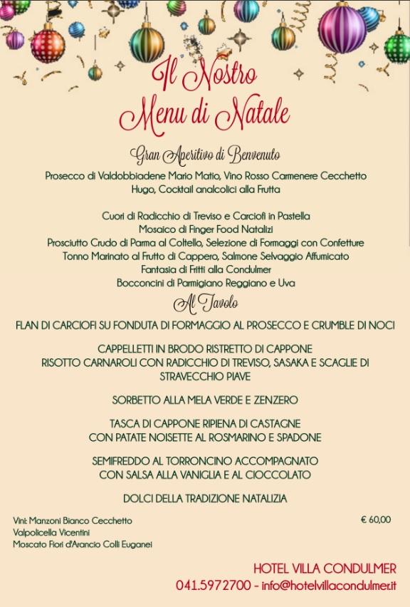 Menu Di Natale Tradizionale Veneto.Il Pranzo Di Natale Con Noi Hotel Villa Condulmer